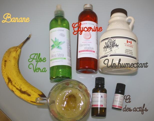 banane et ingrédients écriture