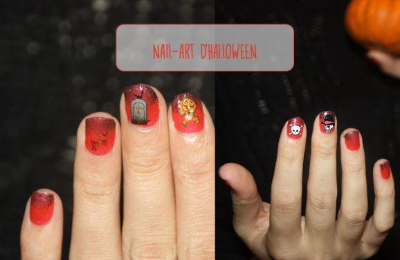nail art halloween 2 mains